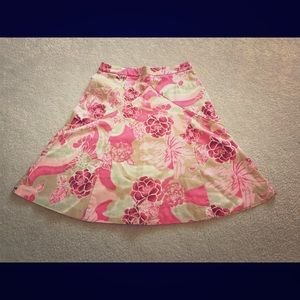 Express Pink Floral midi skirt Size 0